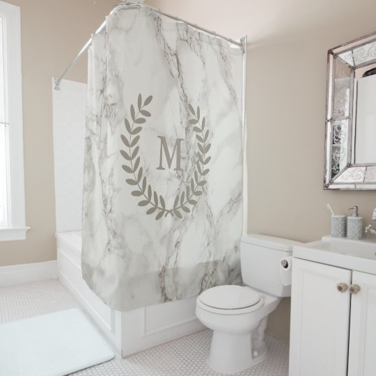 Clic White Marble With Taupe Laurels Custom Shower Curtain
