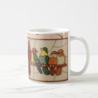 Classic White Mug with exotic birds