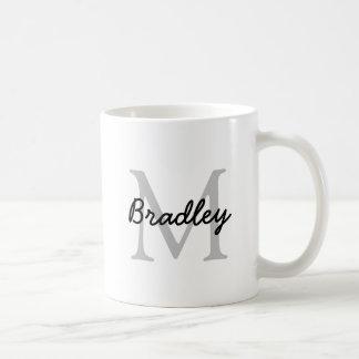 Classic White Mug with Slate Gray Monogram