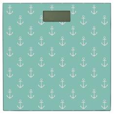 Classic White Nautical Anchors On Cool Aqua Bathroom Scale at Zazzle