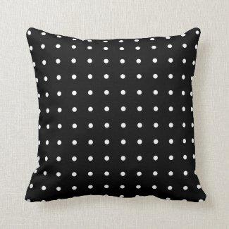 Classic White Polka Dot Pattern on Black Throw Pillow