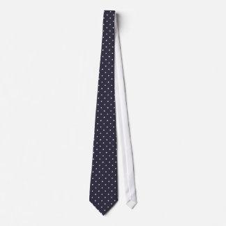 Classic white polka dots in dark blue background neck tie