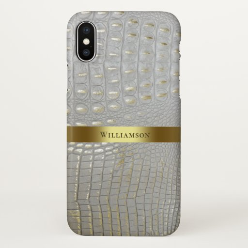 Classic White Reptile Digital Leather Gold Metal iPhone X Case