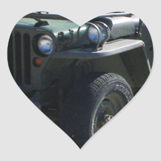Classic Willy's Jeep. Heart Sticker