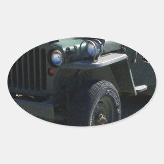 Classic Willy's Jeep. Oval Sticker