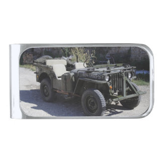 Classic Willys Jeep Silver Finish Money Clip