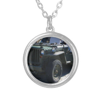 Classic Willy's Jeep. Silver Plated Necklace
