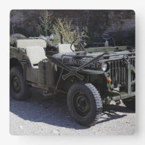 Classic Willys Jeep Square Wall Clock