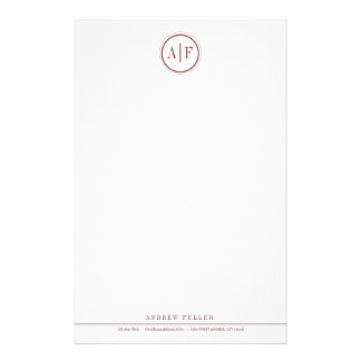 Classic Wine Red Monogrammed Stationery