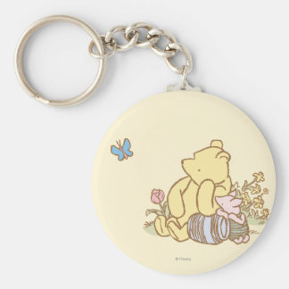 Classic Winnie the Pooh and Piglet 1 Basic Round Button Keychain