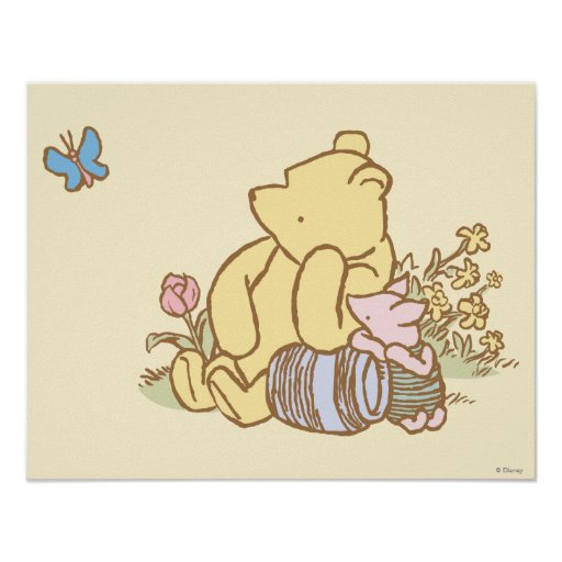 classic winnie the pooh and piglet 1 posters zazzle. Black Bedroom Furniture Sets. Home Design Ideas