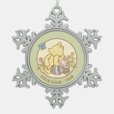 Classic Winnie the Pooh and Piglet 1 Snowflake Pewter Christmas Ornament at Zazzle