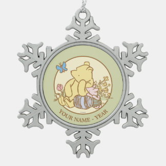 Classic Winnie the Pooh and Piglet 1 Snowflake Pewter Christmas Ornament
