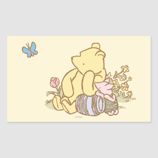 Classic winnie the pooh and piglet 1 rectangle stickers for Classic winnie the pooh mural