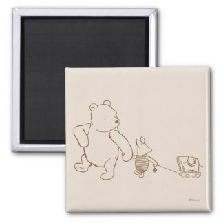 Classic Winnie the Pooh and Piglet 2 2 Inch Square Magnet