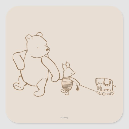 Classic Winnie the Pooh and Piglet 2 Square Stickers