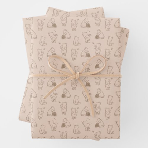 Classic Winnie the Pooh Pattern Wrapping Paper Sheets