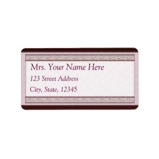 Classic Woodcut Maroon Address Lables Label