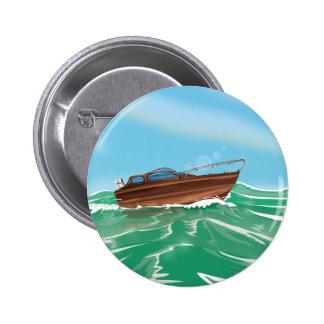 Classic Wooden Speedboat 2 Inch Round Button