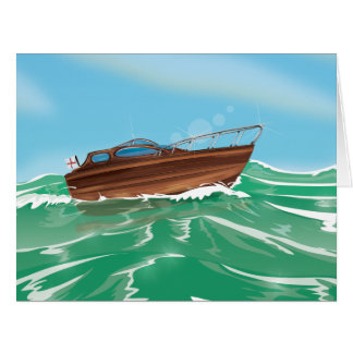 Classic Wooden Speedboat Card