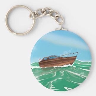 Classic Wooden Speedboat Keychain