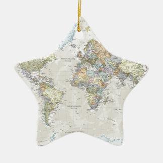 Classic World Map Ceramic Ornament