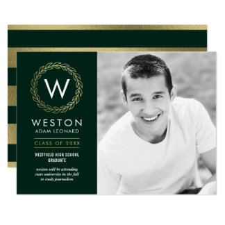 Classic Wreath EDITABLE COLOR Graduation Invite