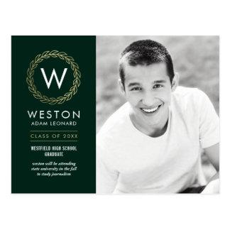 Classic Wreath EDITABLE COLOR Graduation Postcard