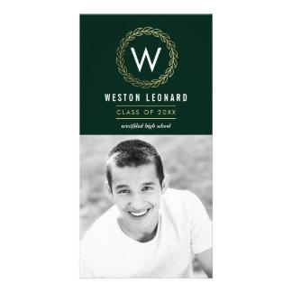 Classic Wreath Graduation Photo Card Announcement