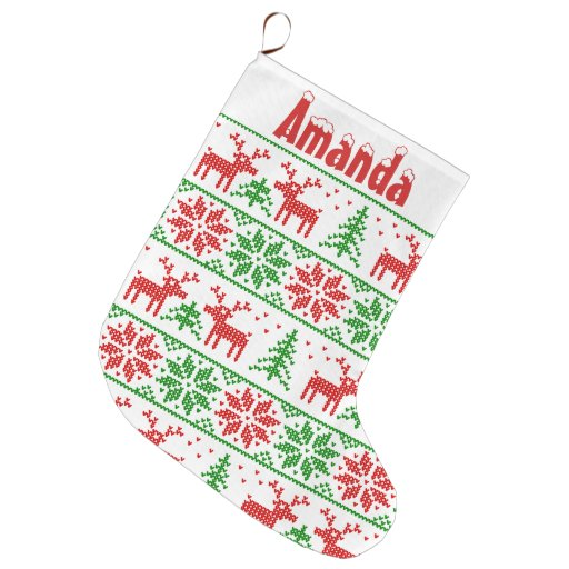 Classic Xmas. nordic pattern Large Christmas Stocking