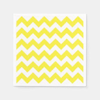 Classic Yellow and White Chevron Pattern Paper Napkin