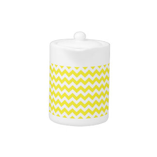 Classic Yellow and White Chevron Pattern Teapot