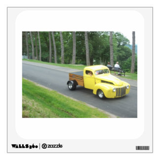 classic yellow antique truck in a blur wall decal