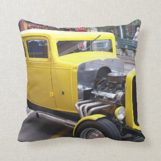 Classic yellow car throw pillow