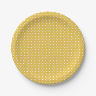Classic Yellow Gold and White Polka Dot Plates 7 Inch Paper Plate