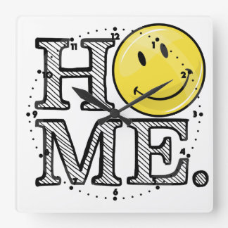 Classic Yellow Happy Face Housewarming Square Wall Clock