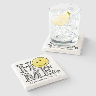 Classic Yellow Happy Face Housewarming Stone Coaster