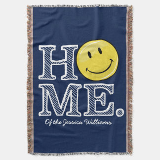 Classic Yellow Happy Face Housewarming Throw Blanket