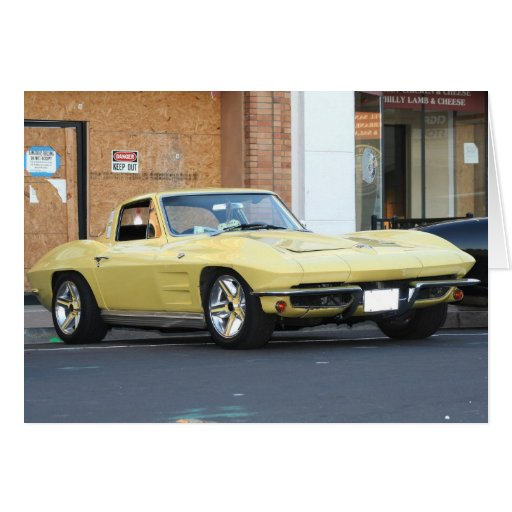 Classic Yellow Vette Notecard Stationery Note Card