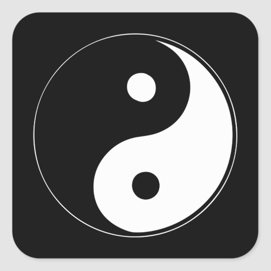 Classic Yin Yang Square Sticker