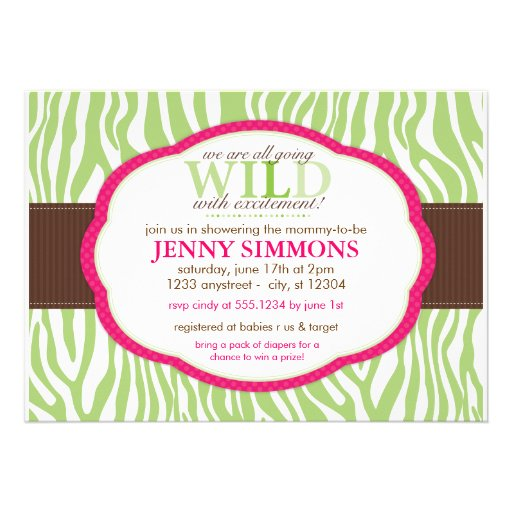 classic zebra print baby shower invitations 5 x 7 invitation card