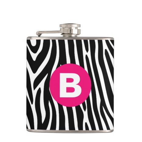 Classic Zebra Stripes Bright Pink Monogram Flask