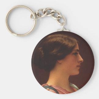 Classical Beauty by John William Godward Basic Round Button Keychain