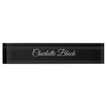 Classical Caligraphy Black White Professional Desk Name Plate