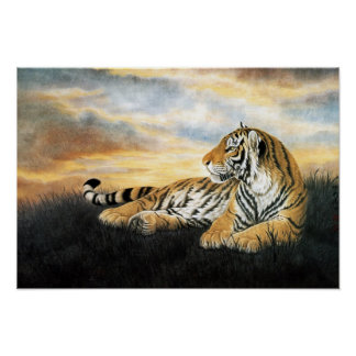 Classical Chinese style art, Reclining tiger Poster