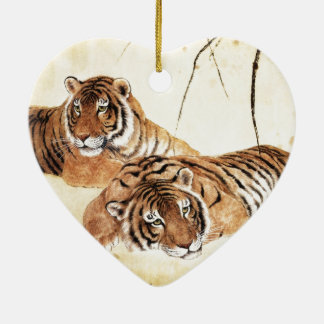 Classical Chinese style art, Reclining tigers Ceramic Ornament
