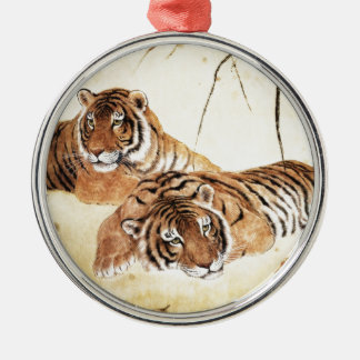 Classical Chinese style art, Reclining tigers Metal Ornament