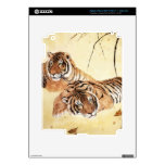 Classical Chinese style art, Reclining tigers iPad 3 Skins