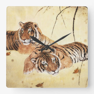 Classical Chinese style art, Reclining tigers Square Wall Clock