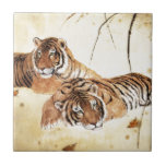 Classical Chinese style art, Reclining tigers Tiles